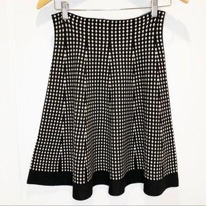 Max Studio Black & Cream Diamond Print Knit Skirt